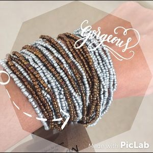 NWT Gray and Brown Beaded Bracelet