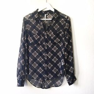 Bellatrix Tops - Sheer plaid button down blouse