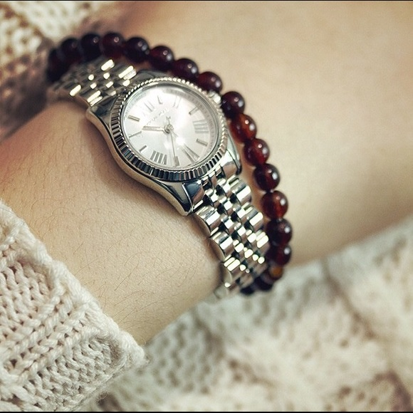 67f8da76f48a Michael Kors Silver Petite Lexington glitz watch