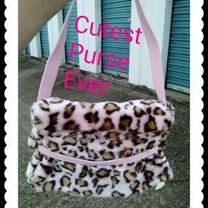 Handbags - Pink Faux Fur Shoulder Purse