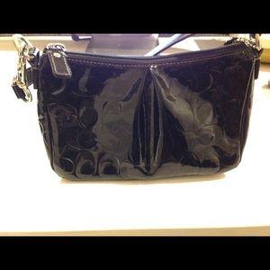 Coach all black patent leather shoulder purse