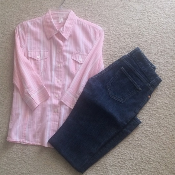 50 Off Old Navy Tops Pink And White Striped Shirt From