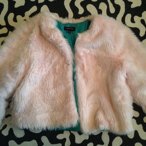 Cropped Pink Faux Fur Coat from Nastygal
