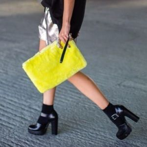 Zara Neon Yellow Faux Fur Clutch