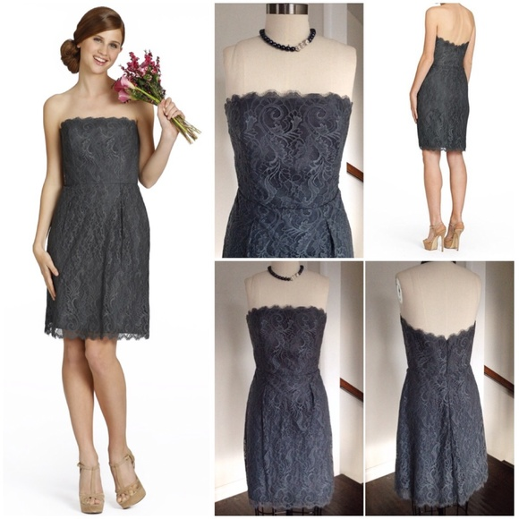 Jim Hjelm Dresses & Skirts | SOLD CHARCOAL GREY LACE STRAPLESS ...