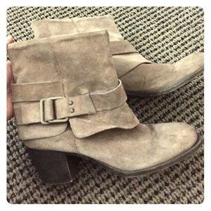 Nine West Beige suede heeled booties