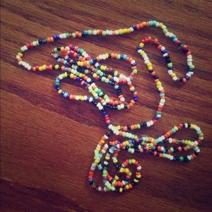 long multicolor bead necklace