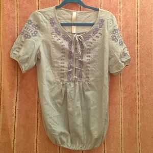 Tops - Embroidered chambray top.