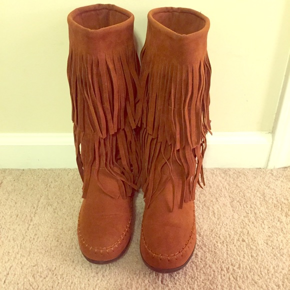 71% off Rampage Boots - 💥💥TODAY ONLY!!💥💥 Cognac Fringe Boots ...