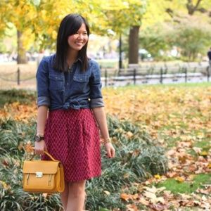 FINAL MARKDOWN! Red & Cranberry Chevron Skirt