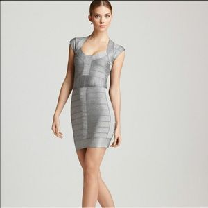 French Connection Silver Bandage dress