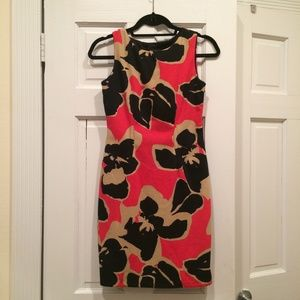 Nine West Dresses & Skirts - Red, Tan and Black Floral Print Work Dress