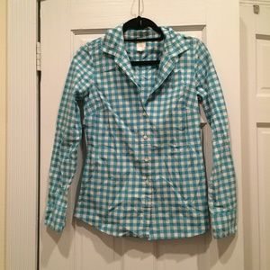 J. Crew Tops - Turquoise Gingham Button Up Shirt