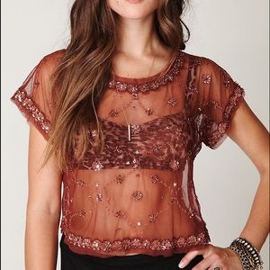 Free People Tops - Free People Crafty Embellished Crop Tee