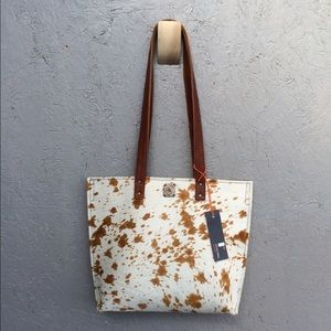 Freddy Accessories - Hamdmade brindle hair-on leather tote.