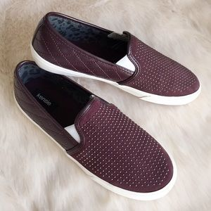 Kensie Maroon Studded Slip On Sneakers