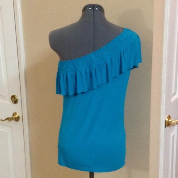 Turquoise Ruffle Blouse One Shoulder Ruffle Blouse