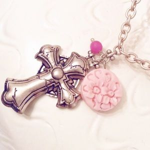 Gunmetal Gold and Rose Cross Necklace