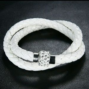 Leather wrap braided bracelet with rhinestone