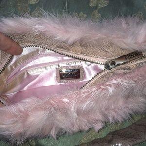 besso Bags - Pink rabbit fur purse