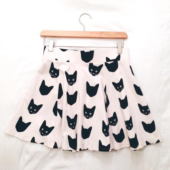 737d6bb511a99 H&M Skirts | Hm Black Kitty Cat Print Skater Aline Skirt | Poshmark