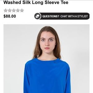 4de648e9fbc American Apparel Tops - Wash silked long sleeve tee