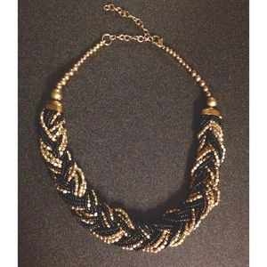 Beaded Braided Statement Necklace Black & Gold
