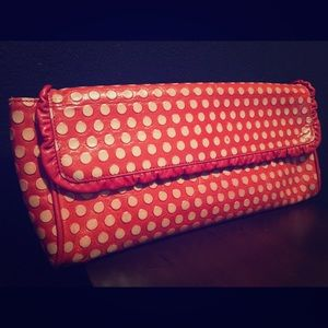 Arcadia Red polka dot leather purse. Made in Italy