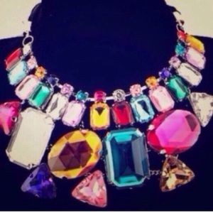 Colorful gem bling collar bib necklace unique