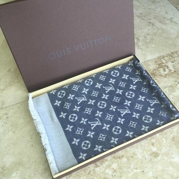 Louis Vuitton Accessories   Monogram Denim Shawl Scarf Blue   Poshmark 8593c235cf