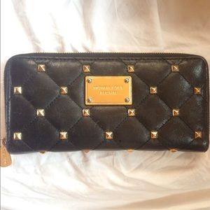 Michael Kors Quilted Stud Zip Continental Wallet