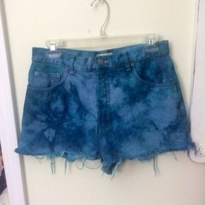 Vintage High Waisted Tie Dye Wash Shorts