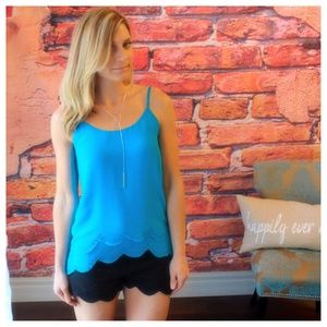 Cyan layered scallop tank with bead detail