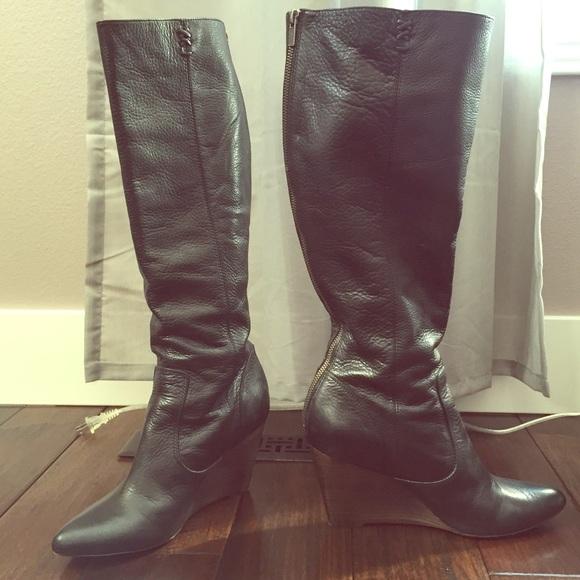 32 frye boots frye wedge boot in black