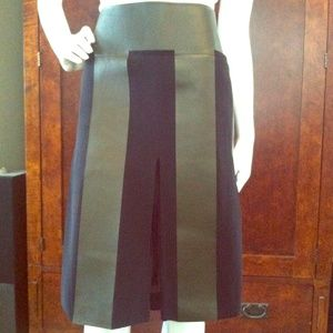 Celine Silk & Leather Midi Skirt