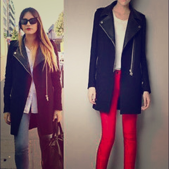 43% off Zara Outerwear - Zara Black coat With leather lapels ...