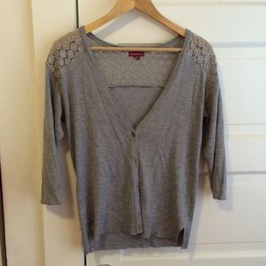 Merona grey cardigan with lace back detail