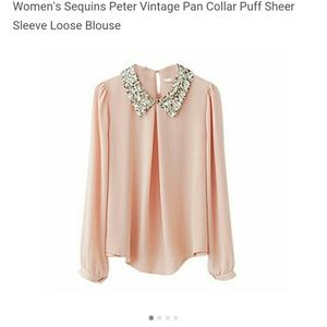 Tops - Sequin peter pan collar blouse