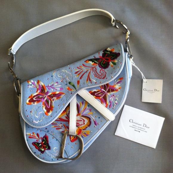 Christian Dior Saddlebag Lt Blue Butterflies NWT 6832de081d92c