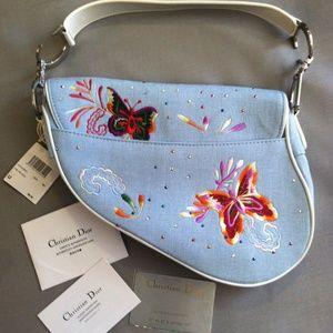Dior Bags - Christian Dior Saddlebag Lt Blue Butterflies NWT 6499a49930112