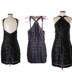 NWT! BCBGMaxAzaria Black Tiered Dress Halter