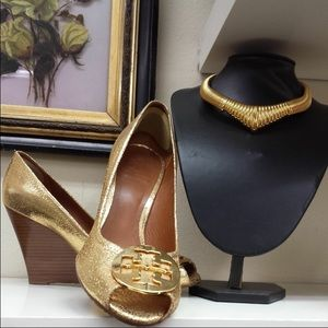 Tory Burch gold wedge 