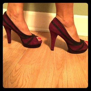 Nine West platform pumps purple open toe