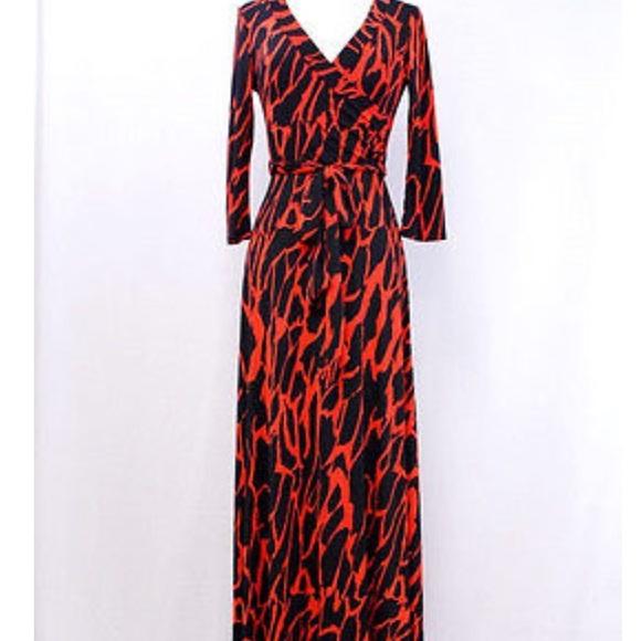 12c5bc3cd7 Orange and black animal print maxi dress