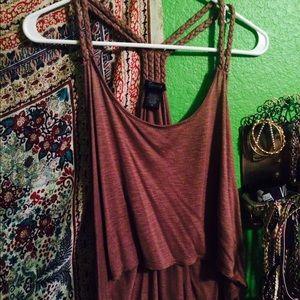 Brown braided tank top