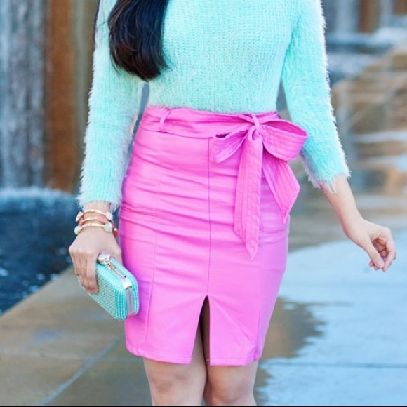 Chicwish - ***HOST PICK*** *SOLD* Pink Faux Leather Skirt from ...