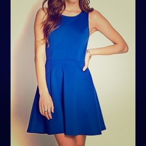 Zip-back Royal blue fit and flare dress