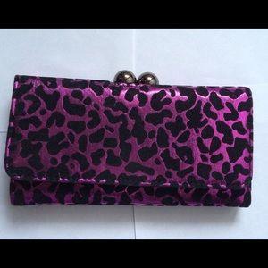 Purple Leopard Clutch Wallet