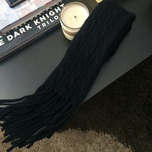 Black Cable Knit Cashmere Scarf Ann Taylor