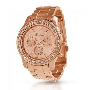 Stainless Steel Geneva Rose Gold Plated CZ Watch